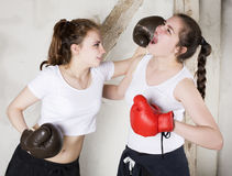 Two girls as boxers Stock Image