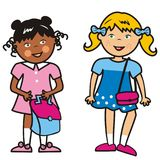 Two girls and bag, funny vector illustration Royalty Free Stock Image