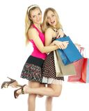 Two girls with bags Royalty Free Stock Photography
