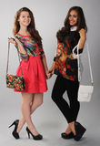 Two girls with bags posing for advertising Stock Photos