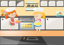 Two girls baking cake in kitchen. Illustration Stock Photography