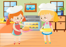 Two girls baking pie in kitchen. Illustration Royalty Free Stock Photo