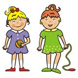 Two girls with ball and jump rope, eps Stock Photos