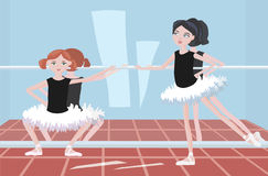 Two girls in ballet classroom near the mirror Stock Images