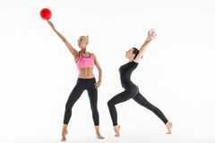 Two girls with balls Royalty Free Stock Photography
