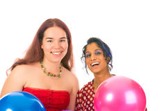 Two girls with baloons Royalty Free Stock Photo