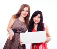 Two girls with banner. Stock Photography