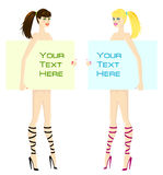 Two girls with banners. Vector illustration Stock Photo