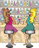 Two girls in a bar. Art illustration: two girls in a bar Stock Images