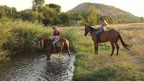 Two girls bathe their horses in the lake, slow mo. Two girls bathe their horses in the lake, one of the horses is afraid to go into the water stock video footage