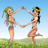 Two girls in bathing suits with wreaths on their heads dancing in the meadow Royalty Free Stock Photos