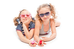 Two girls in bathing suits Stock Photo