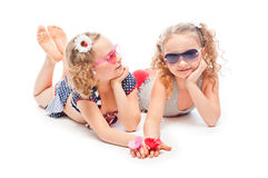 Two girls in bathing suits Royalty Free Stock Images