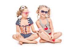 Two girls in bathing suits Royalty Free Stock Photo