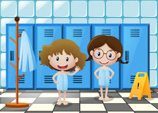 Two girls in bathtowel standing in locker room. Illustration vector illustration
