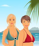 Two girls on the beach Royalty Free Stock Images