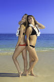 Two girls at the beach Royalty Free Stock Image