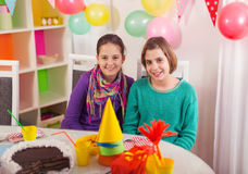 Two girls on birthday party Stock Photo