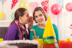 Two girls on birthday party Stock Images