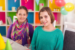 Two girls on birthday party Royalty Free Stock Photography