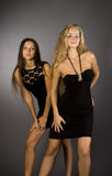 Two girls in black dresses. Snapshot of two women in black dresses, with a gray background with light Royalty Free Stock Photos