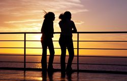 Two girls black silhouette Royalty Free Stock Photo