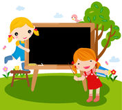 Two girls and blackboard. Illustration of two girls and blackboard Stock Photos