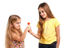 Two girls blonde with lollipop Royalty Free Stock Photo