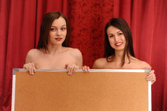 Two girls with board Stock Images