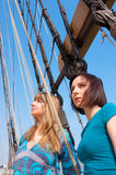 Two girls on a boat Stock Photography