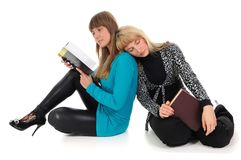Two girls with books Royalty Free Stock Images