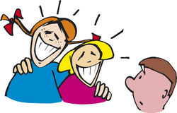Two girls and boy. Illustration of two girls laughing and shy boy Stock Photo