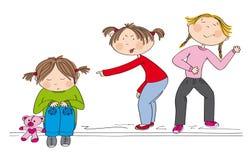 Two girls bullying poor girl, sneering, offending her. Children two girls bullying poor girl, sneering, offending her. The poor kid is sitting on the ground Stock Photos
