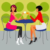 Two girls in the cafe Vector Illustration