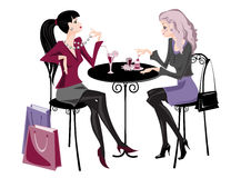 Two girls in cafe Stock Photography
