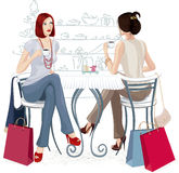 Two girls at a cafe. Two young women sitting with cups of coffee at the table. Isolated over white background. Vector illustration vector illustration
