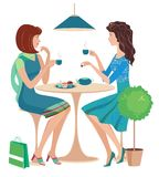 Two girls at a cafe stock illustration