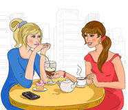 Two girls in the cafe Stock Photo
