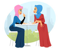 Two girls in cafe. Vector illustration of a two girls in cafe Stock Photos