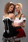 Two girls and a cake Royalty Free Stock Image