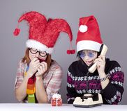 Two girls calling to Santa Royalty Free Stock Images