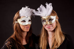 Two girls carnaval mask Royalty Free Stock Image