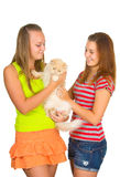 Two girls and cat Stock Image