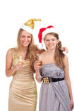 Two girls celebrate Christmas Stock Photo