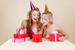 Two girls celebrating birthday Royalty Free Stock Photography