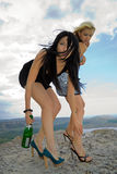 Two girls with a champagne bottle Stock Photos