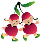 Two girls in cherry suit Royalty Free Stock Photos