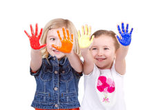 Two girls with paint on hands Stock Photo