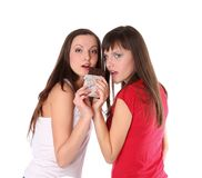 Two girls with chocolate Stock Photography