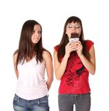 Two girls with chocolate Royalty Free Stock Image
